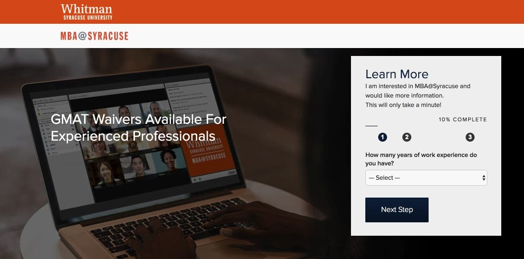 This picture shows marketers how Syracuse University uses an Instagram landing page to promote their online MBA program.