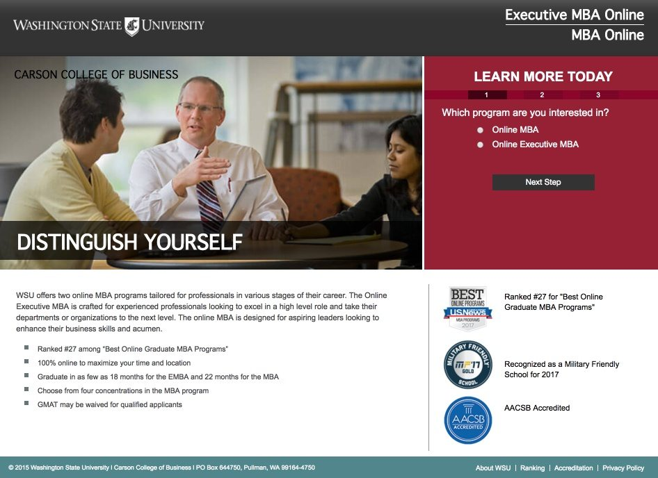 This picture shows marketers how Washington State University uses an Instagram landing page to promote their online MBA program.