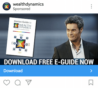 This picture shows marketers how Wealth Dynamics advertises their ebook on Instagram.