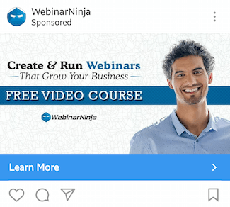 This picture shows marketers how WebinarNinja advertises their free video course on Instagram.