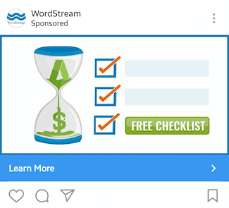 This picture shows marketers how WordStream advertises their PPC checklist on Instagram.