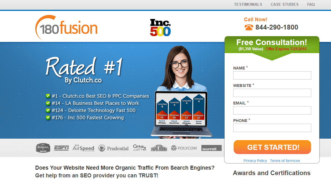 180fusion Landing Page Example