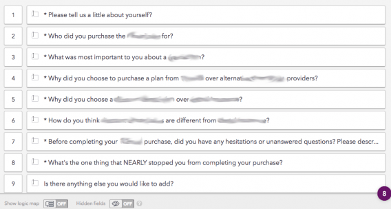 This picture shows marketers how to create buyer persona surveys with open-ended questions.