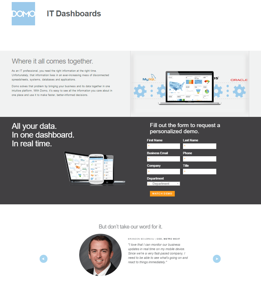 18 domo domo it data landing page example