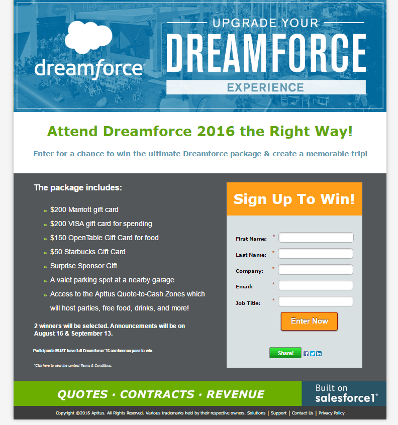 Dreamforce Landing Page Example
