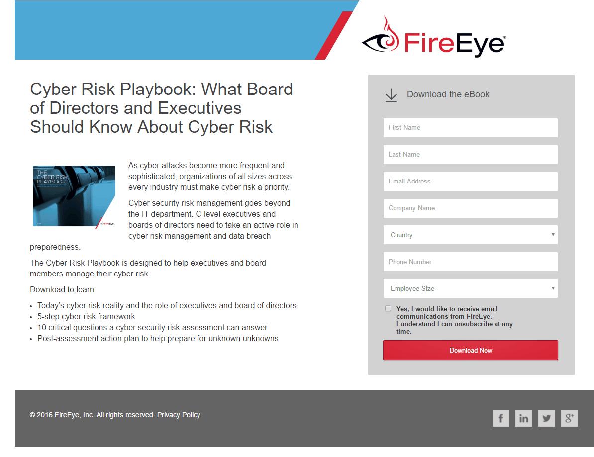 FireEye Landing Page Example