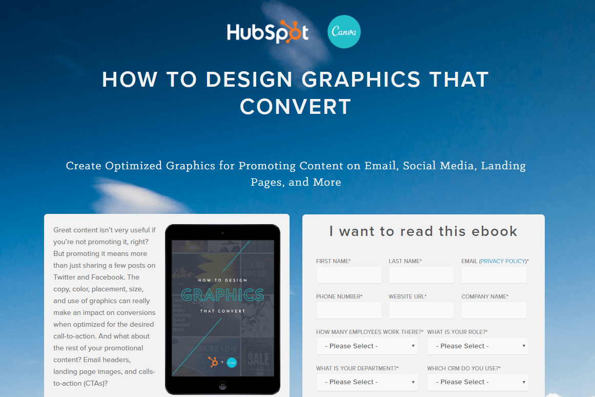 HubSpot Canva Landing Page Example