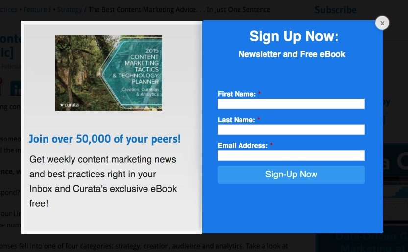 This picture shows marketers how Curata uses persuasive landing page copywriting on its squeeze page to convince visitors to subscribe to their newsletter.