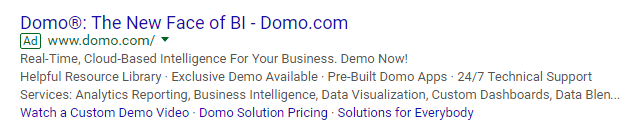 This picture shows marketers how Domo uses AdWords to generate traffic to their video demo landing page.