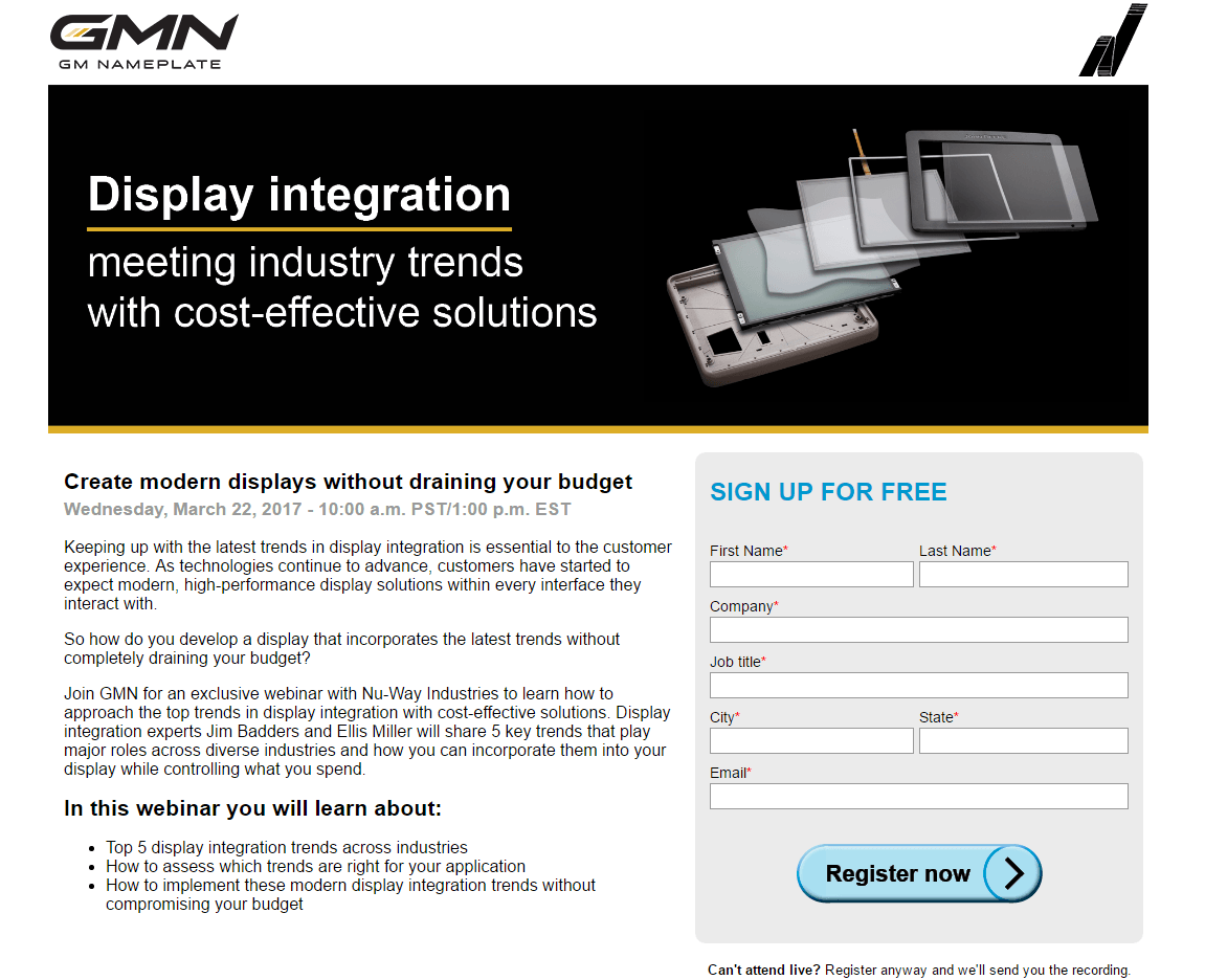 This picture shows marketers how GM Nameplate uses a marketing landing page to generate leads from their display integration webinar.