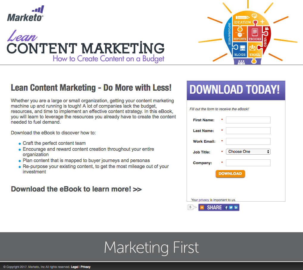 Marketo Content Marketing Landing Page Example