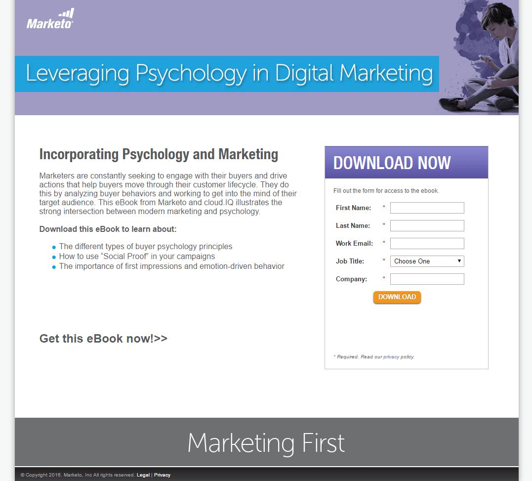 Marketo Psychology Landing Page Example