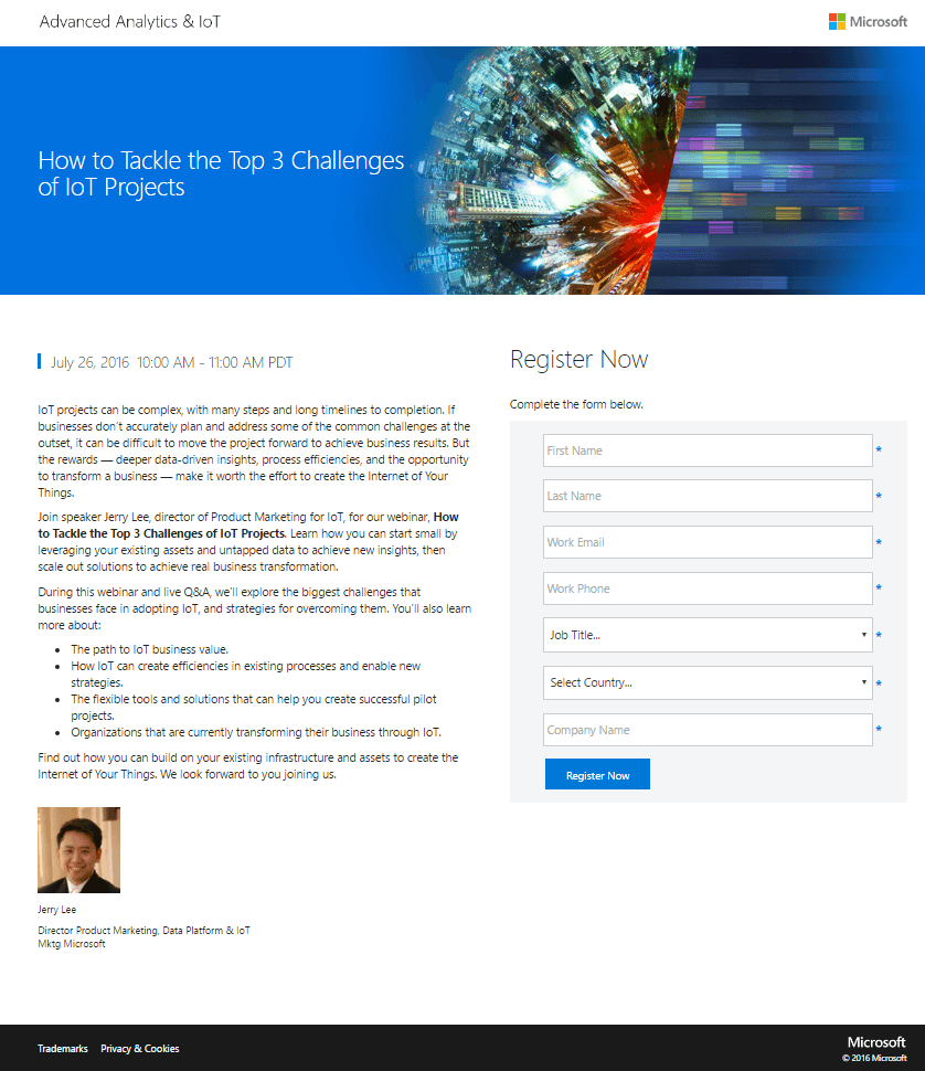 Microsoft IoT Project Landing Page Example
