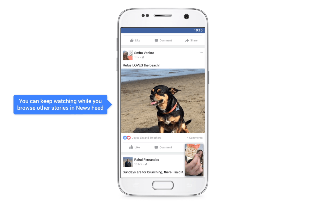This picture shows marketers how Facebook users can watch videos in the bottom corner as they scroll down their news feed.