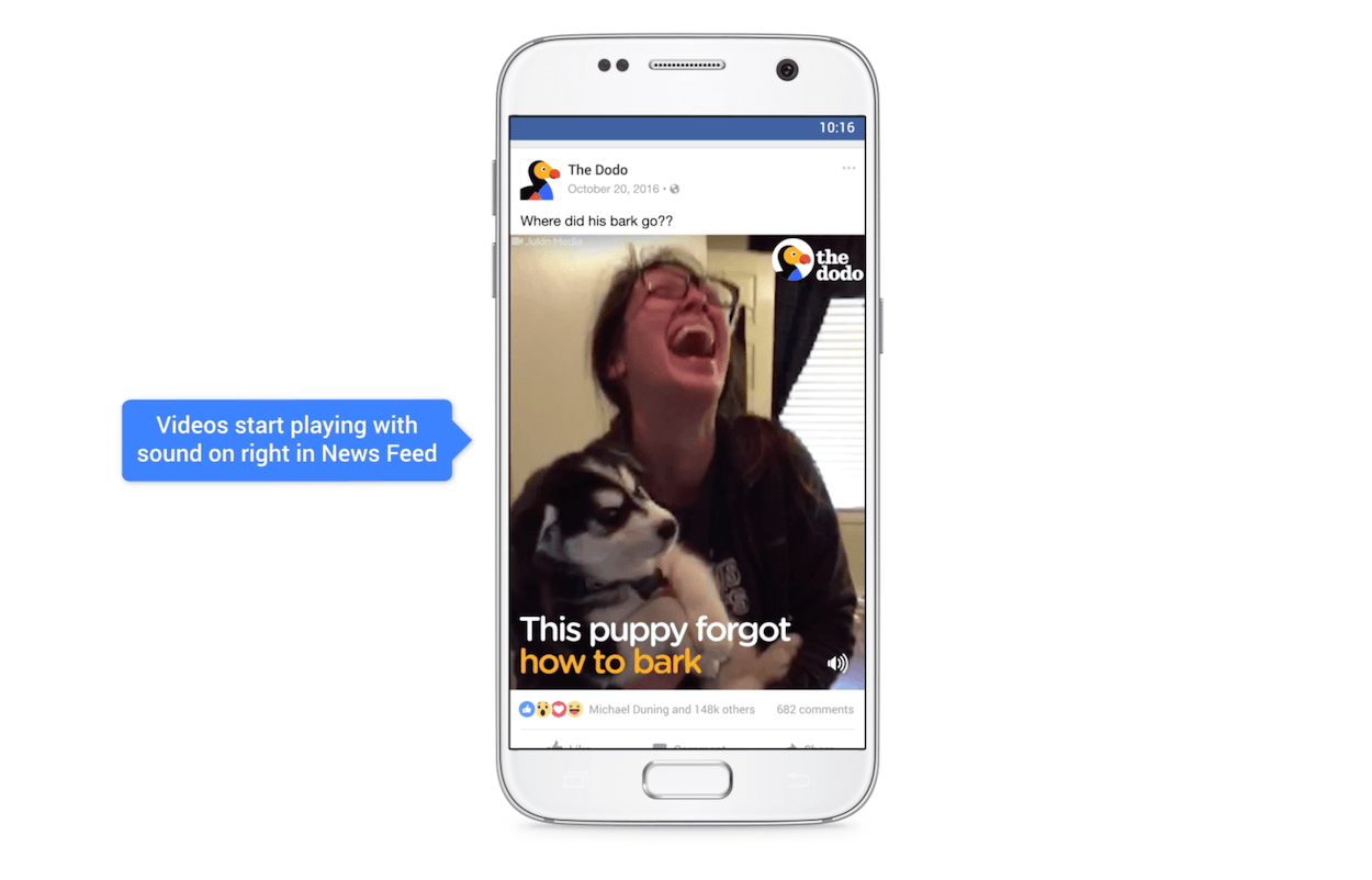 This picture shows marketers how Facebook users can watch videos with sound on as default as they scroll their news feed.