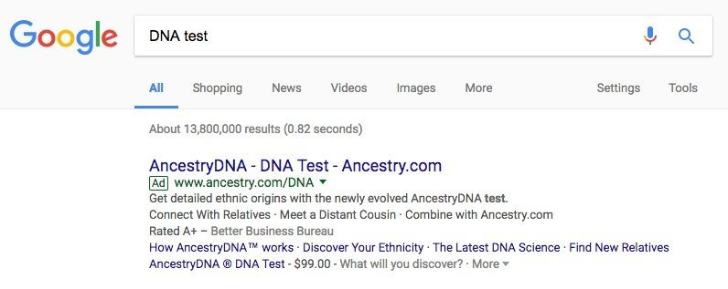 landing page experience Ancestry ad