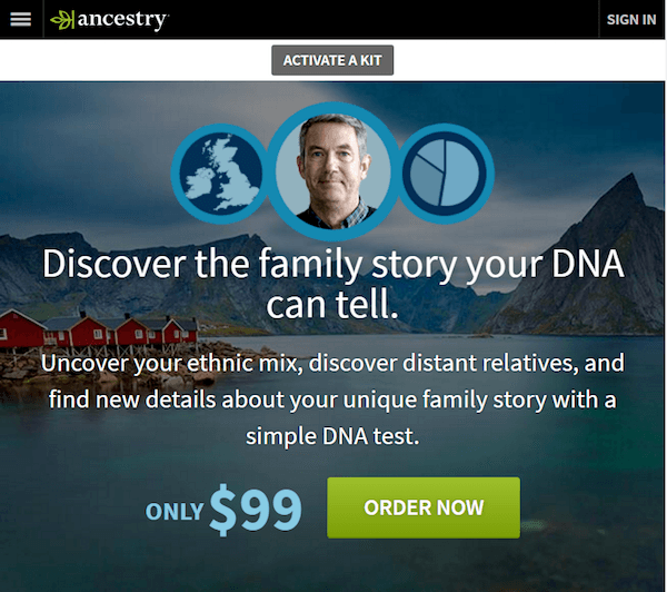 landing page experience Ancestry page