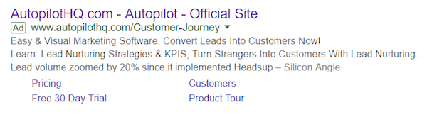 landing page experience Autopilot ad