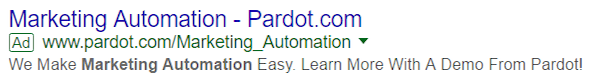 landing page experience Pardot ad