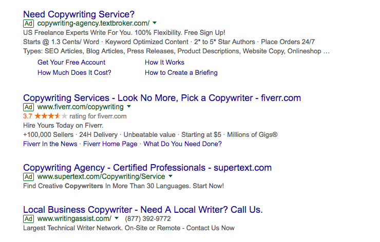 Copywriting Agency Search Ads on Google AdWords