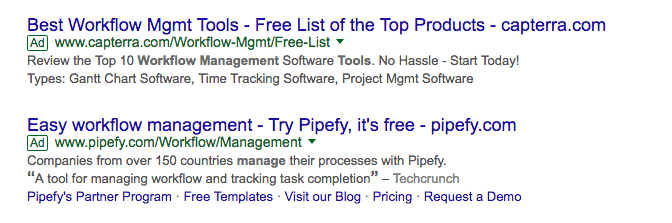 Pipefy and Capterra Search Ad Comparison