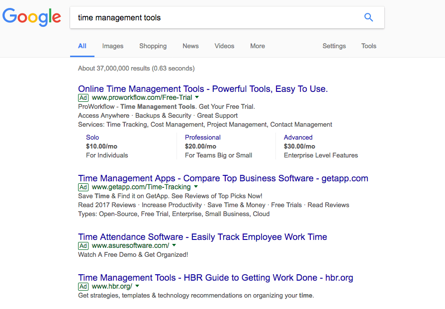 Time Management Tools Search Ads