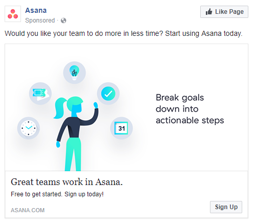 best facebook ads Asana