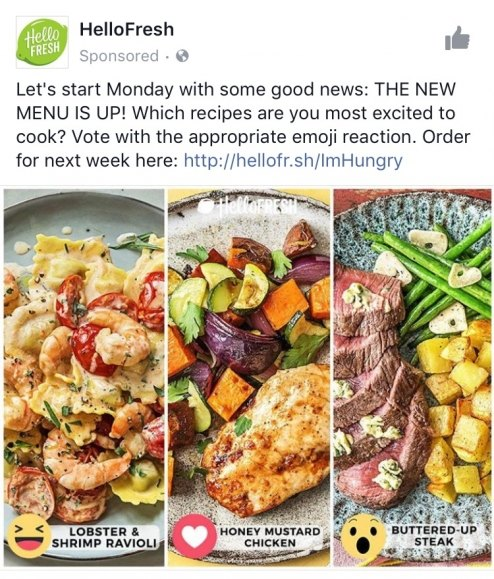 best facebook ads HelloFresh