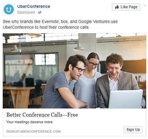 best facebook ads UberConference