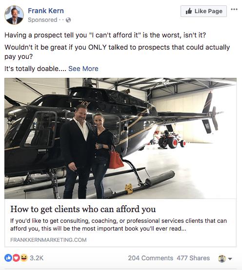 Facebook sponsored ads frank