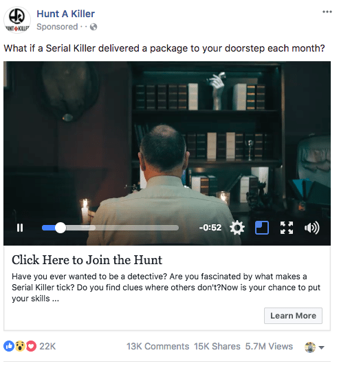 Facebook sponsored ads hunt