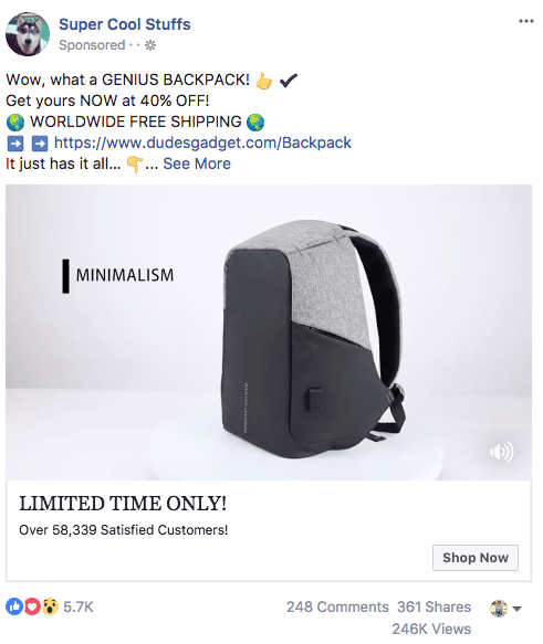 Facebook sponsored ads super cool