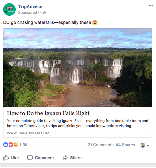 Facebook sponsored ads trip advisor