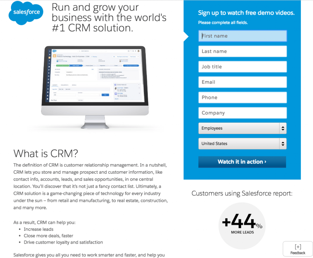 ad copywriting -salesforce landing page