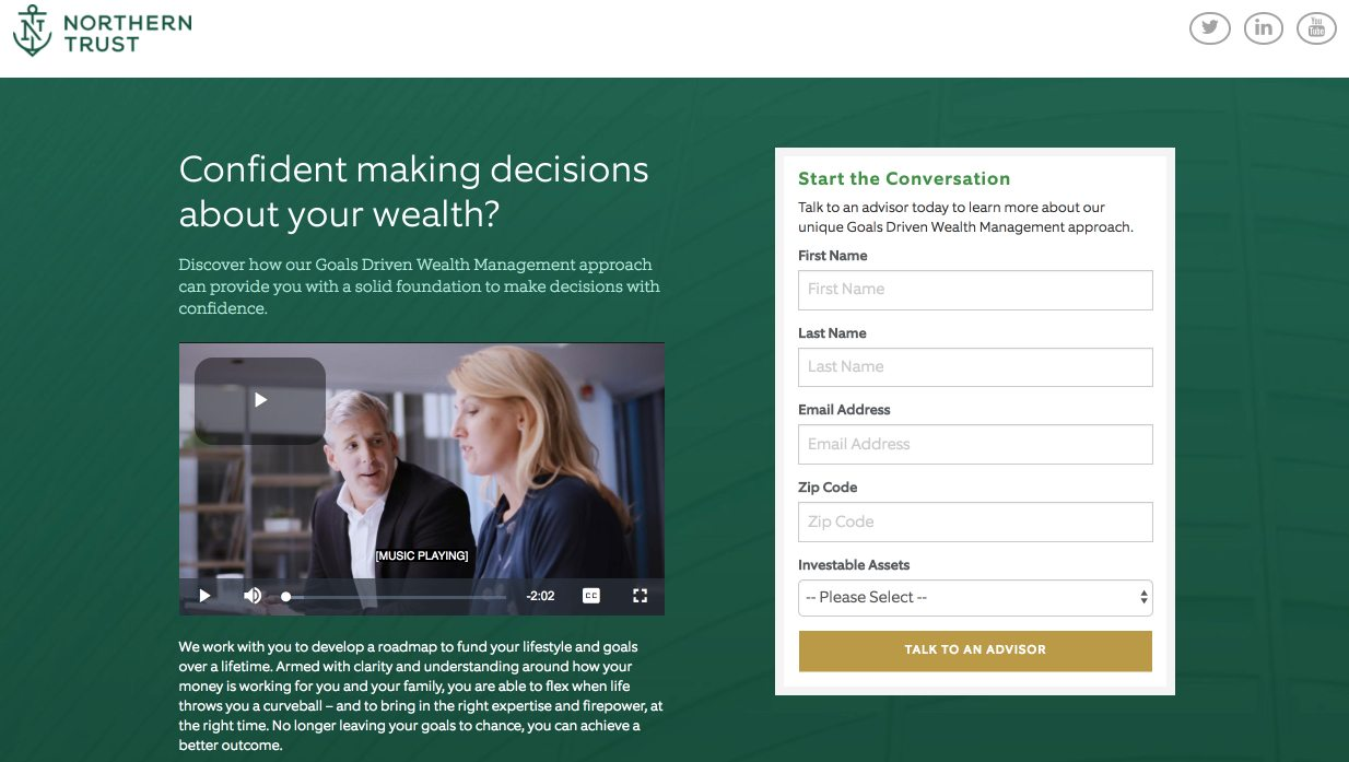 mobile landing page report financial services