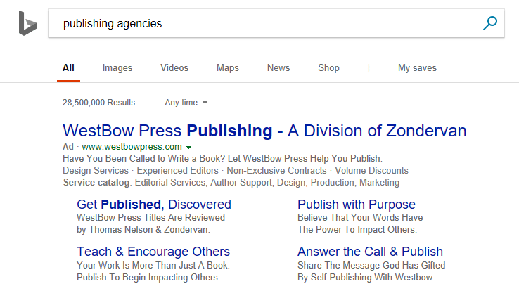 Bing Ads vs. Google AdWords search ad example