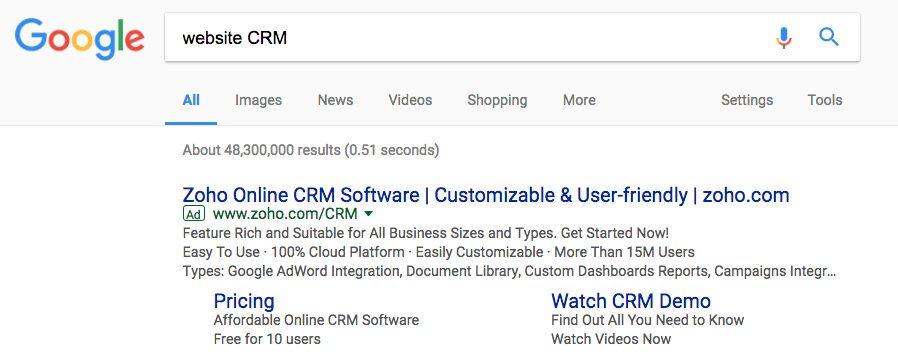 Bing Ads vs. Google AdWords sitelink extensions