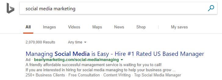 Bing Ads vs. Google AdWords social media marketing ad