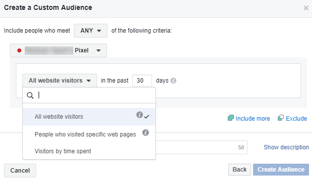 Facebook retargeting create Custom Audience