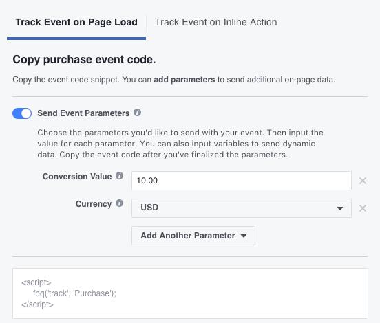 Facebook retargeting pixel event parameters
