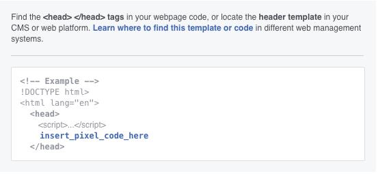 Facebook retargeting pixel header code