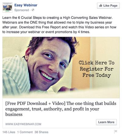 Facebook retargeting webinar ad