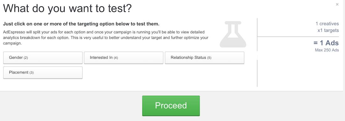 AdEspresso A/B testing targeting