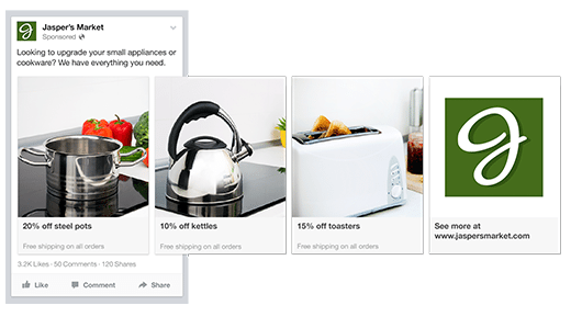 All Types Of Facebook Ads Instapage Marketing Guide - Facebook carousel ads template