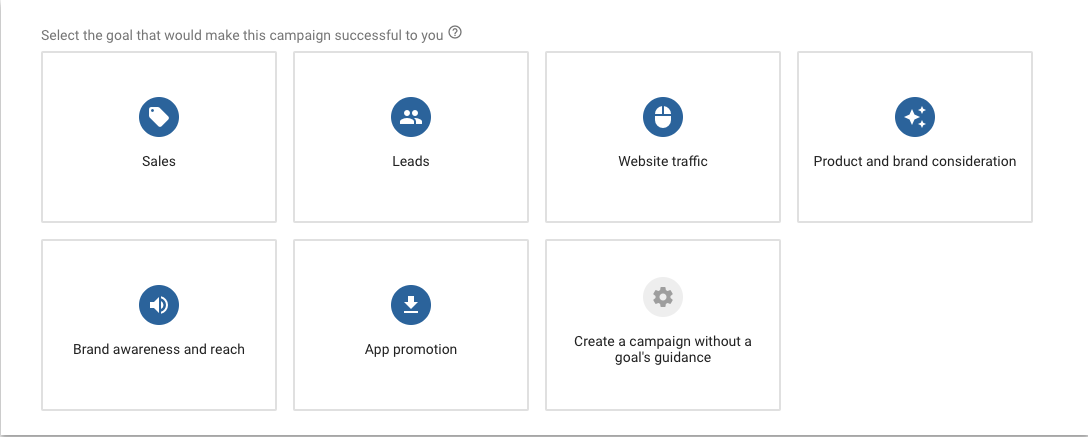 Screenshot shows how to select goals for your Google Ads campaign
